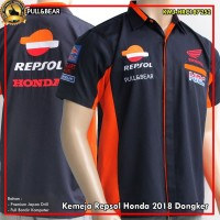 Baju Kemeja Balap Motor Repsol Honda Biru Dongker