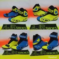 Sepatu drag touring Alpinestar k pro biru stabilo stabilo biru