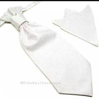Cravat tie silver putih ready stok dasi wedding import + pocket square