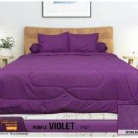bedcover set my love california 180x200 warna ungu polos ori halus