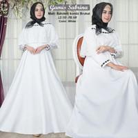 Baju Busana Muslim Gamis Syari Gaun Pesta Dress Maxi Balo Sabri Putih