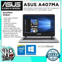 Laptop Asus A407MA ram 4GB hdd 1TB Intel N4000 Fingerprint Garansi 2th