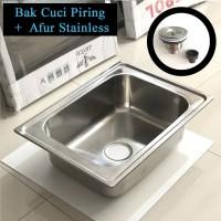 Bak Cuci Piring Stainless Bowl Persegi Kotak Dalam +Afur /Kitchen Sink