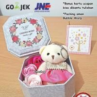 3 flower soap + bear I LOVE YOU in a can, kado valentine/ultah unik ! - Biru, Kaleng no.5