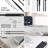 Remax Smart Aux Cable RL-S120 with Volume Control & Mic
