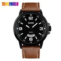 Jam Tangan Pria / SKMEI 9115 Leather / Jam Tangan Analog Kulit SKMEI