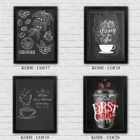Poster dinding Bingkai dekorasi rumah COFFEE BLACKBOARD pajangan A4