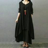 VISGEL MAXI Dress Panjang Kaftan Gamis Modern Bahan Rayon Adem