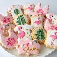 Butter cookies dengan icing | kukis hias baby shower flamingo