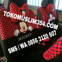 Sarung jok bantal mobil 18 in 1 mickey mouse headrest terpisah