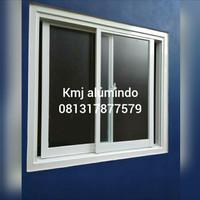 Jendela sleding aluminium kaca ukuran 100x100