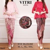 Setelan Kebaya Wanita - Eve Blouse Set Pink Red - Baju Setelan Wanita
