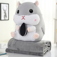 Bonmut Boneka Balmut Bantal Selimut Karakter Hamster Abu