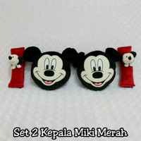Bantal Mobil 2 in 1 Headrest Kepala MICKEY Mouse Red