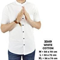 Kemeja Pria Baju Hem Cowok Navy Putih Maroon polos Lengan Pendek ABG - Navy, M