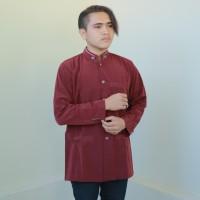 Baju Koko Busana Muslim Pria Jasko Jas Koko Polos Merah Ati JIT 036 - Maroon, S