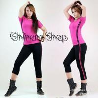 Ghinarr Shop Setelan baju senam aerobic yovis lengan pendek