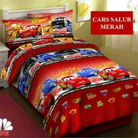 bed cover set motif anak cars mc queen warna merah 120x200