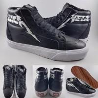Sepatu Kets Vans SK8High X Metallica Leather Black White Hitam Putih
