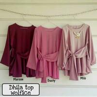 Baju atasan dhila top Blous Tunik eanita / Baju muslim wanita blus