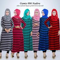 Gamis baju dress maxi maxy terusan wanita muslim garis garis santai