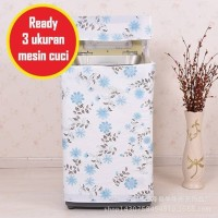 WMC006 - Bunga Biru Muda Cover Mesin Cuci (3 ukuran mesin cuci)