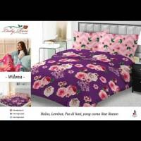 bedcover set motif bunga lady rose warna ungu 180x200 ori halus