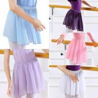 Ballet Chiffon Skirt Rok Balet Sifon dengan Pita Elastis Anak-Dewasa