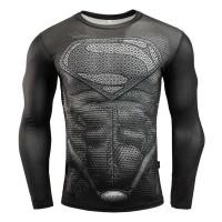 Baju Olahraga Pria Ketat Lengan Panjang Crossfit MMA Model Superman