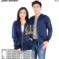 Jaket bomber couple biru dongker