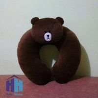Bantal Leher Brown (Line Character Neck Pillow)