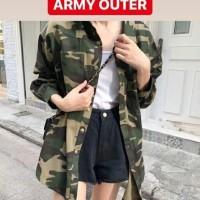 Army loreng outer luaran hem shirt baju atasan wanita armi doreng