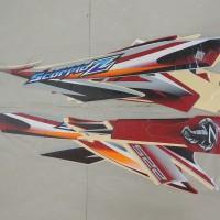 Stiker Bodi & Lis Body & Striping Scorpio Z 2008 Silver Merah