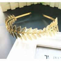WEDDING CROWN / TIARA GOLD LEAVES HEADPIECE BANDO DAUN EMAS