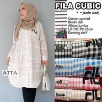 Baju wanita blouse tunik fila cubic muslim modern keren unik lucu
