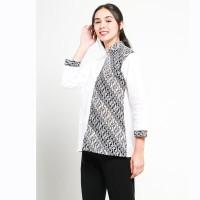 Blus Kerja Atasan Wanita Warna Putih Kombinasi Batik ~ Salma