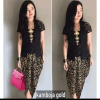 Setelan Kebaya Brukat/Brokat/Lace Combi Batik Rok Pendek Cantik Modern