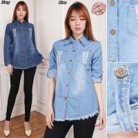 Atasan Blouse Firdha Kemeja Casual Lengan Panjang Jeans Wanita