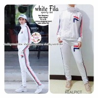 Baju Setelan Wanita Atasan Celana White Fila Sporty Set