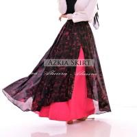 Rok Panjang Wanita Muslimah Maxi Azkia Umbrella Skirt Katun Bordir