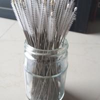Sikat Pembersih Sedotan bambu / Stainless Steel Straw brush 17,5 cm