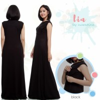 Lia Black Hitam Baju Menyusui Manset Kaos Spandek Max long dress Busui