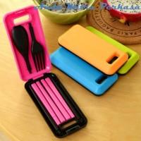 Box of Cutlery Traveling Spoon Set Sendok Garpu Sumpit Peralatan Makan