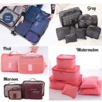 6 in 1 Traveling Bag in Bag Organizer (1 set isi 6 pcs organizer) - Maroon