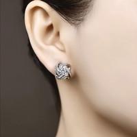 Anting Tusuk Silver Lapis Emas Putih Batu Cubic Zirconia Besar - BE187