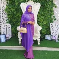 Baju Gamis Busana Muslim Modern Maxi Princess Duyung Ungu Murah