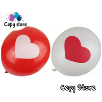 Balon Latex Gambar Love / Balon Latex Motif Love - Putih