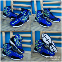 Sepatu Drag bike touring race turing biker biru hitam vr46 kulit suede