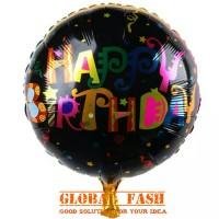balon foil HBD HITAM/ balon bulat HBD / balon bulat happy birthday