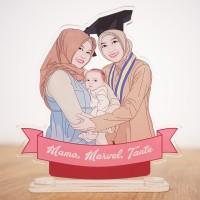 Custom Trophy Plakat Vandel akrilik + karikatur Setengah Badan